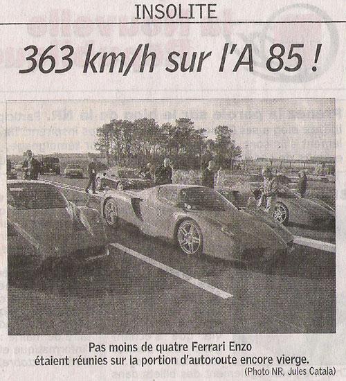 Des Ferrari à 363 km/h sur l\'A85 en France (Vidéo) Nouveau record établi