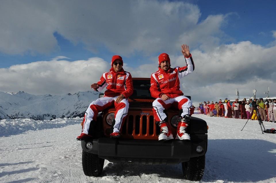Fernando Alonso et Felipe Massa font de la pub pour Fiat et Chrysler  Une pub pour la Jeep Wrangler Rubicon et la Fiat Panda 4X4
