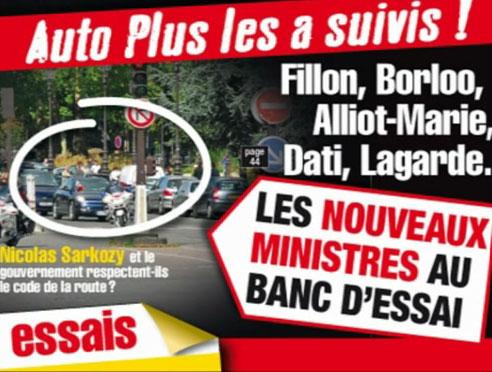 Sarkozy et Fillon pris sur le fait en vidéo Huit excès de vitesse, huit feux rouges grillés...