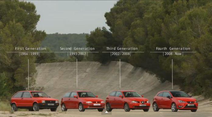 Après les 40 ans de la golf c'est au tour de la Ibiza de fêter ses 30 bougies; 4 générations de Seat...